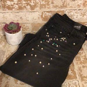 NWT Earl Jeans Sz 14 Blk Rhinestone & Pearl Accent
